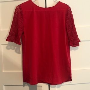 Van Heusen pink blouse with lace sleeves